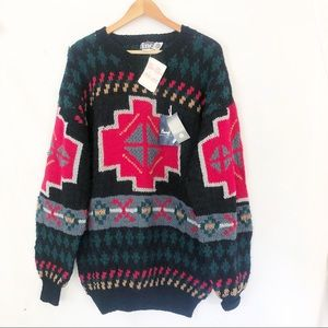 90s Vtg INC southwest hand knit wool sweater Sz L